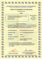 Nigeria Type Approval Certificate